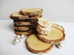 Birch Tree Slices, Rustic Wedding Decor,Birch Slices, Coasters, Woodworking, 4 inch Birch Slices, Rustic Wedding, Set Of 12 on Etsy, $16.31