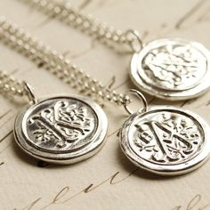 silver wax seal initial necklace