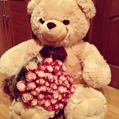 So adorable and perfect anniversary or valentines day gift :) Giant Teddy Bear, Cute Teddy Bears, Be My Valentine, Valentine Day Gifts, Tumblr, Rose Bouquet, Pretty Flowers, Girly Things, Red Roses