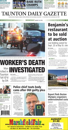 The front page of the Taunton Daily Gazette for Wednesday, Aug. 19, 2015.