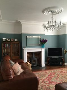 Living room walls in Oval Room Blue by Farrow & Ball Living Room Paint, New Living Room, My New Room, Home And Living, Dado Rail Living Room, Farrow And Ball Living Room, Kitchen Living, Oval Room Blue, Victorian Living Room
