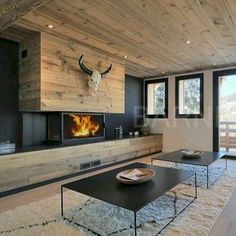 100 Wonderful Rustic Living Room Decor Ideas And Remodel - Page 85 of 144 - Afshin Decor Home Fireplace, Fireplace Design, Interior Design Living Room, Living Room Decor, Living Area, Rustic Wood Floors, Wood Flooring, Chalet Interior, Chalet Design