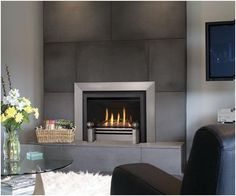 contemporary glass tile fireplace | Contemporary Fireplace Idea by Miles Industries