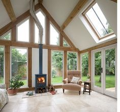Too much wood for my house, but wooden beams used sparingly could work
