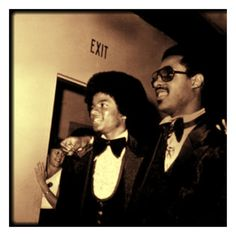 Two of the greats!! Stevie Wonder and Michael Jackson!! Love them both.