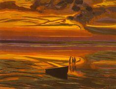 """Léon Spilliaert : """"Marine dorée"""" (1921) Gouache, pastel sur carton 695 x 895mm"""