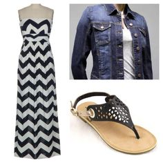 Super flattering chevron maxidress with Soda sandals and a jean jacket for cooler nights.