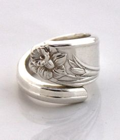Spoon Ring - DAFFODIL 1950 - Vintage Silverware Spoon Ring, Spoon Jewelry - Ready To Ship - Made In Usa - Size 7.5 by SilverwareCreations on Etsy