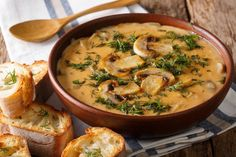 Soup Recipes, Vegan Recipes, Cooking Recipes, Hungarian Mushroom Soup, Hungarian Recipes, Chile, Bowl Of Soup, Vegan Soup, Dinner Is Served