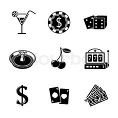 Casino gambling monochrome icons set with - dice, poker cards ...