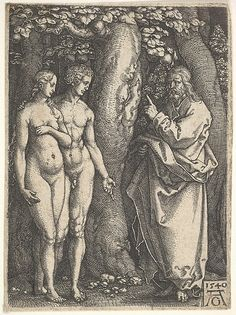 """God at right forbidding the nude Adam and Eve at left to eat from the tree of knowledge in center, from """"Adam and Eve"""" (1540) by Heinrich Aldegrever"""