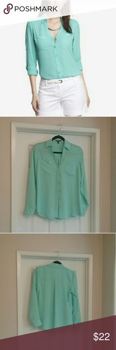 Express Convertible Sleeve Portofino Blouse NWOT Gorgeous semi sheer Express Portofino blouse. Two way convertible sleeves and front patch pockets.  Looks amazing with a pencil skirt or dressed down with shorts. Never worn. Express Tops Blouses