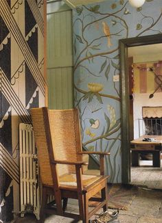 """Adam's Eden"" wallpaper designed by decorative painter Adam Calkin for Lewis & Wood. Photographed at Albion House Decor, Outdoor Decor, Simple House, Wallpaper, Wood Wallpaper, Fabric Wallpaper, Designer Wallpaper, Garage Renovation, Albion House"
