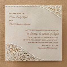 Vintage Pearls and Lace - Invitation | Carlson Craft Wedding & Stationery Products