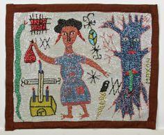 """Maxon (Haitian, 20th c.) Gran Brigit Drapeau / Vodou Flag (Haiti), c. 1980's Sequins and beads on cloth, 18.5"""" x 22.5"""""""