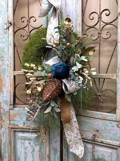 Your place to buy and sell all things handmade Thanksgiving Wreaths, Fall Wreaths, Door Wreaths, Christmas Wreaths, Moss Wreath, Diy Wreath, Tree Topper Bow, Tree Toppers, Christmas Door Decorations