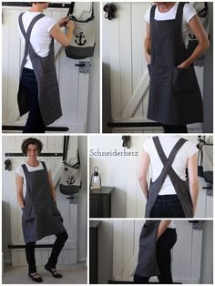 Linen apron - Linen apron (and a shop spoiler) Informations About Schürze aus Leinen Pin You can easily use my pr - Sewing Aprons, Sewing Clothes, Diy Clothes, Sewing Shirts, Clothing Patterns, Sewing Patterns, Apron Patterns, Knitting Patterns, Fabric Patterns