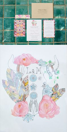 Eclectic feather wedding invite.
