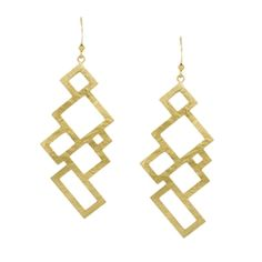 Geometric Scratch Finish Earrings in Gold