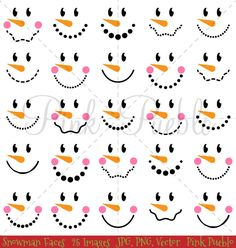 Snowman Faces Christmas Clipart Clip Art, Snowman Christmas Winter Clip Art…