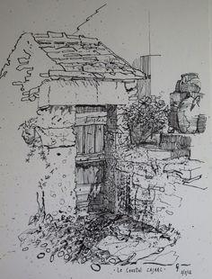 Chris F: Le Coustal, Cajarc. ink on paper