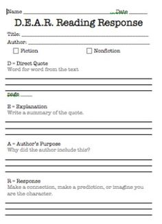 D.E.A.R. Reading Response - Common Core. Includes poster, bookmarks, student response sheet, response writing stems, a sample response for fiction, and a sample response for nonfiction. Best for grades 3-6 $