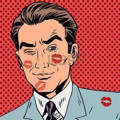 un baiser: Traces d'un baiser sur le visage homme pop art rétro