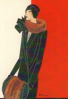 Inspired by muffs jean patou leon benigni 1928 art deco art Art Deco Illustration, Illustrations Vintage, Fashion Illustration Vintage, Fashion Illustrations, Moda Vintage, Vintage Vogue, Vintage Art, Vintage Fashion, Vintage Paintings