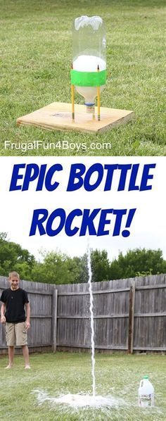 This EPIC Bottle Rocket Flew Higher Than our Two Story House Use a soda bottle baking soda and vinegar Super fun science and backyard project Demonstrate Newtons law. Kid Science, Summer Science, Science Party, Preschool Science, Science Crafts For Kids, Science Week, Science Projects For Kids, Kids Crafts, Science Education
