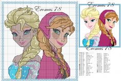 Anna Elsa cross stitch pattern