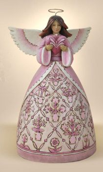 Jim Shore Hope Makes Anything Possible-Breast Cancer Awareness Pink Angel With Heart Figurine