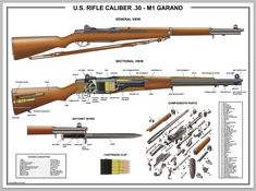 "Poster 24""x36""US Rifle M1 Garand Manual Exploded Parts Diagram D Day Battle WW2 