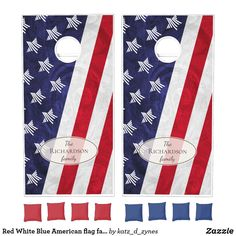 Red White Blue American flag family name Cornhole Set - red gifts color style cyo diy personalize unique Red And Blue Flag, Red And White Stripes, Red White Blue, Picnic Themed Parties, Cornhole Set, Custom Cornhole Boards, Cornhole Designs, Blue Party, Red Gifts
