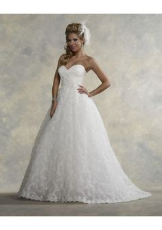 Ruched Bodice A-Line Style with Chapel Train Lucky Wedding Dress