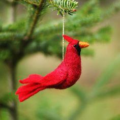 Cardinal - Needle Felted Ornament.