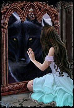 Wolf and familiar Dark Fantasy Art, Fantasy Girl, Chica Fantasy, Fantasy Wolf, Beautiful Fantasy Art, Fantasy Artwork, Wolves And Women, Wolf Artwork, Wolf Spirit Animal