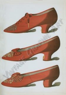 [Satin Oxford shoe, embroidered in steel beads in a floral pattern; deep red shoe with toe embroidered in gold thread; deep crimson shoe with embroidery of gold thread with white beads.] From New York Public Library Digital Collections. Valentines Day Images Free, Vintage Valentines, High Heel Pumps, Pumps Heels, Stilettos, Heels Outfits, Fashion Plates, Red Shoes, Belle Epoque