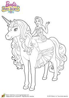 Dessin de Barbie la sirène avec sa licorne, à colorier