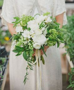 greenhouse bouquet from my styled green house shoot featured on Green Wedding Shoes!