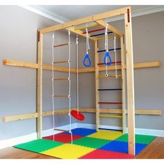 Great for winter in the basement. DIY indoor kids gym (easy and frugal) Although that padding does not look adequate! #diyindoorplayhouse