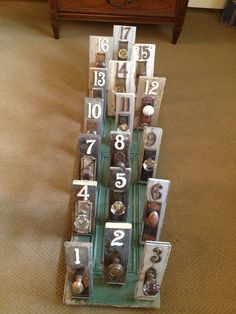 Antique door knob table numbers by FramedinLove on Etsy, $32.00