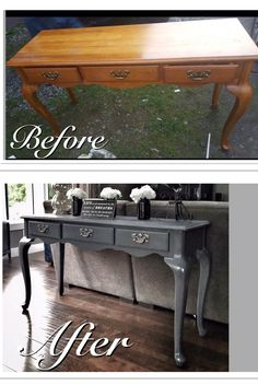 Before & After Old run down sofa table refinished in a mod grey. Changes the look dramatically!