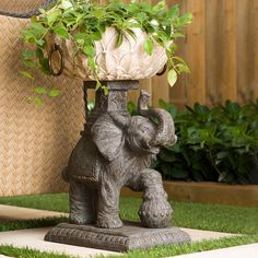 Bombay Outdoors Assam Elephant 15.25 in. W x 23.75 in. H Resin Planter-A004042-999A - The Home Depot