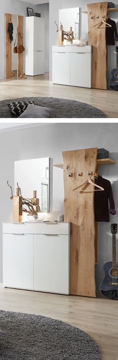 Elegantes Vorzimmer aus Holz mit weißem Kasten und Kommode Elegant wooden anteroom with white box and chest of drawers Free Wooden Pallets, Wooden Pallet Beds, Storage Drawers, Chest Of Drawers, Storage Spaces, White Chests, White Box, Interior Design Living Room, Furniture