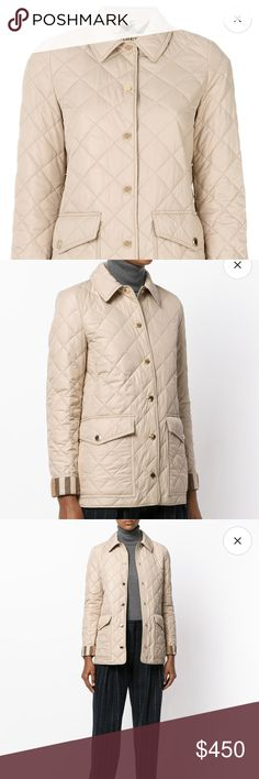 Burberry Westbridge Quilted Jacket (new) Brand new with tags. Never worn a little big on me I am Normally size 2 in Burberry jackets. Size :XS (runs large  according to reviews women size  4-6 (USA) bought it for fitted look)  color: dark stone  Made in Romania  Washing indirections : Dry clean only  Bought at Bloomingdales so this is authentic  Original price $695 plus tax Burberry Jackets & Coats Puffers