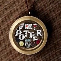 "Harry Potter inspired Origami Owl Living Locket.  Feather, Book, wine glass, owl, Griffindor colors, and of course the word ""Potter"".....for the BFF @Brandie Pomplon"