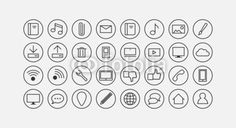 modern communication and social media line icon set