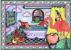 Flamingo Party Art -FLAMINGO FANTASY -  Flamingo Decor. Colorful Whimsical Paintings by Bonnie Gordon-Lucas. My Bonnie Designs. $45.00, via Etsy.