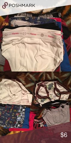 Toddler briefs Toddler briefs for boys. 14 pairs includes 1Spider-Man boxers , 7 boxer briefs, 6 regular underwear. Great fit for a toddler in potty training. No stains no tears. My little one was trained with pull-ups and then was overwhelmed on Christmas with lots of these. Grew up and out of them. Great deal... Get em!!😊🌺 Hanes Other