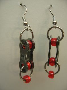earrings made out of recycled bicycle chain links by martyflint, $20.00